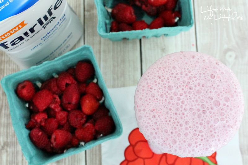 This fresh raspberry milkshake only has three ingredients and is high in protein and calcium! And it tastes just like one you would get at an old-fashioned soda shop!