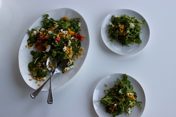 Summer Salad with Basil, Blue Cheese, Corn, and Heirloom Tomatoes