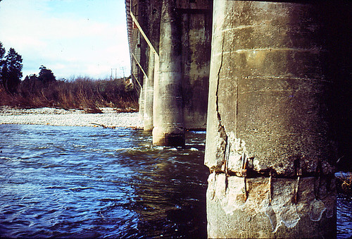 Inangahua Junction bridge after the 1968 earthquake