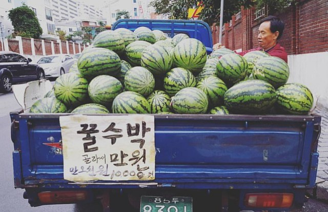 neighborhood watermelon man #daegu #korea #southkorea #ig_daegu #watermelon #fruittruckkorea #eatlocal
