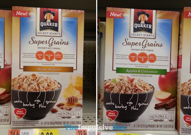 Quaker Select Starts Super Grains Instant Hot Cereal (Honey Almond and Apples & Cinnamon)