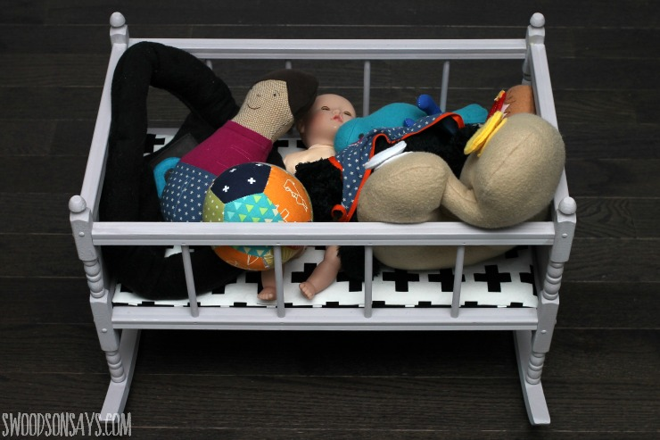 Softie stuffed baby doll crib