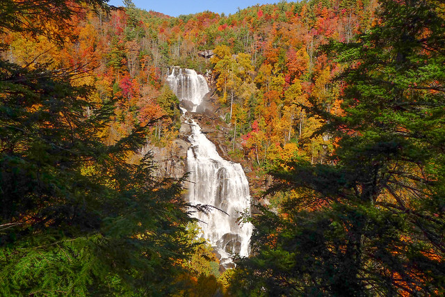 Whitewater Falls with Fall Leaves-006