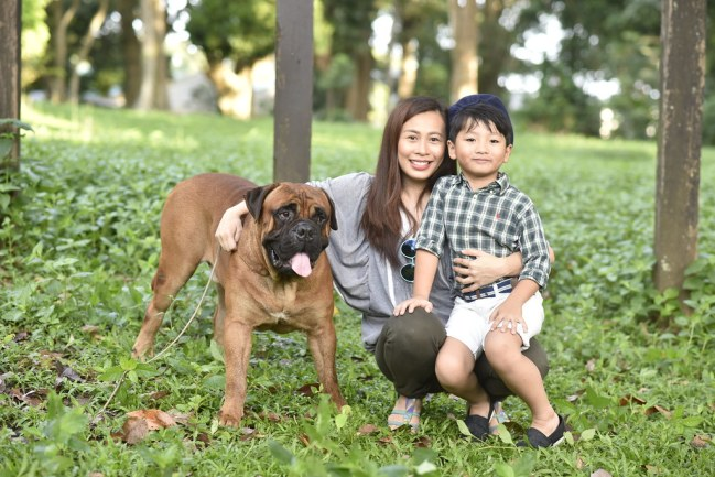 mother and son with Drogo the bullmastiff of Flat Rocks Bullmastiffs