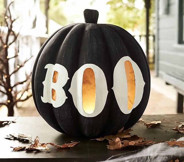 Large Black Pumpkin with Boo Luminary