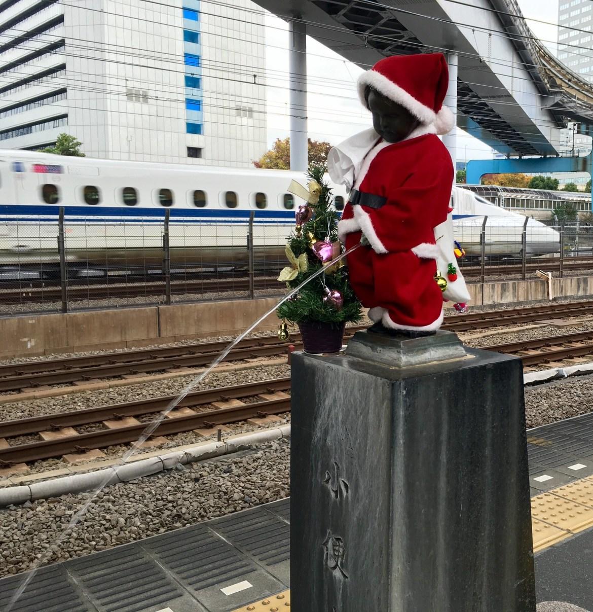 Peeing Boy Statue at JR Hamamtsucho Station