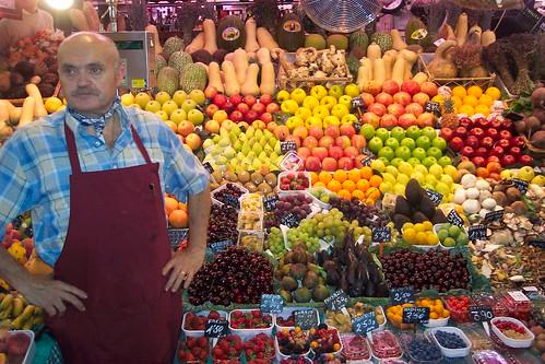 Fruit & vegetable seller at the Mercat La Boqueria, Barcelona, July 2006