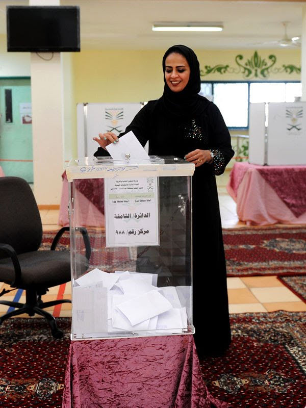 Saudi Arabia votes in first female councillor after women get the right to vote