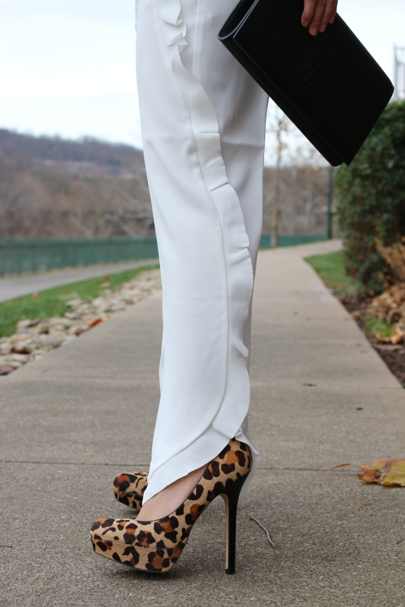 French Connection white trousers, leopard pumps