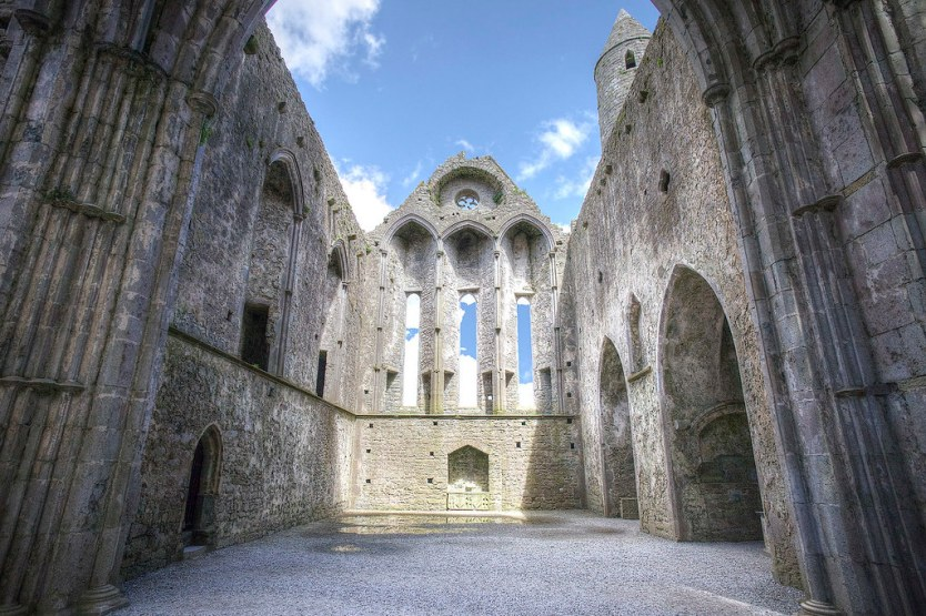Inside the remains of the cathedral at the Rock of Cashel.