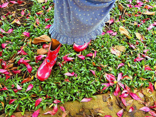 Gumboots and blossoms