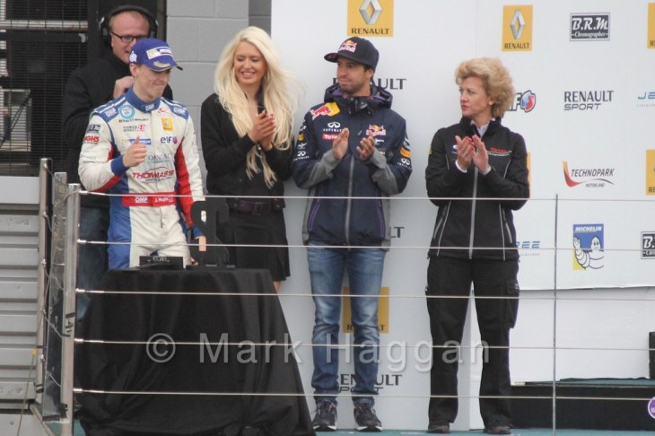 Podium Celebrations for Saturday's Formula Renault 2.0 Race 1 at Silverstone in WSR 2015