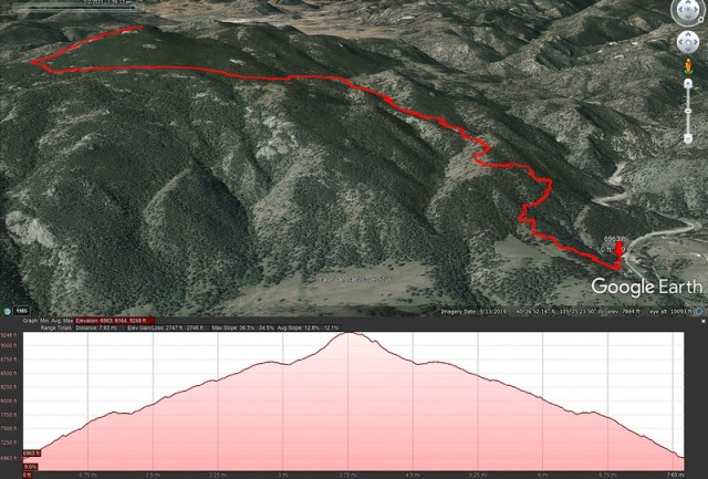 Crosier Mountain via Gravel Pit Google Earth View