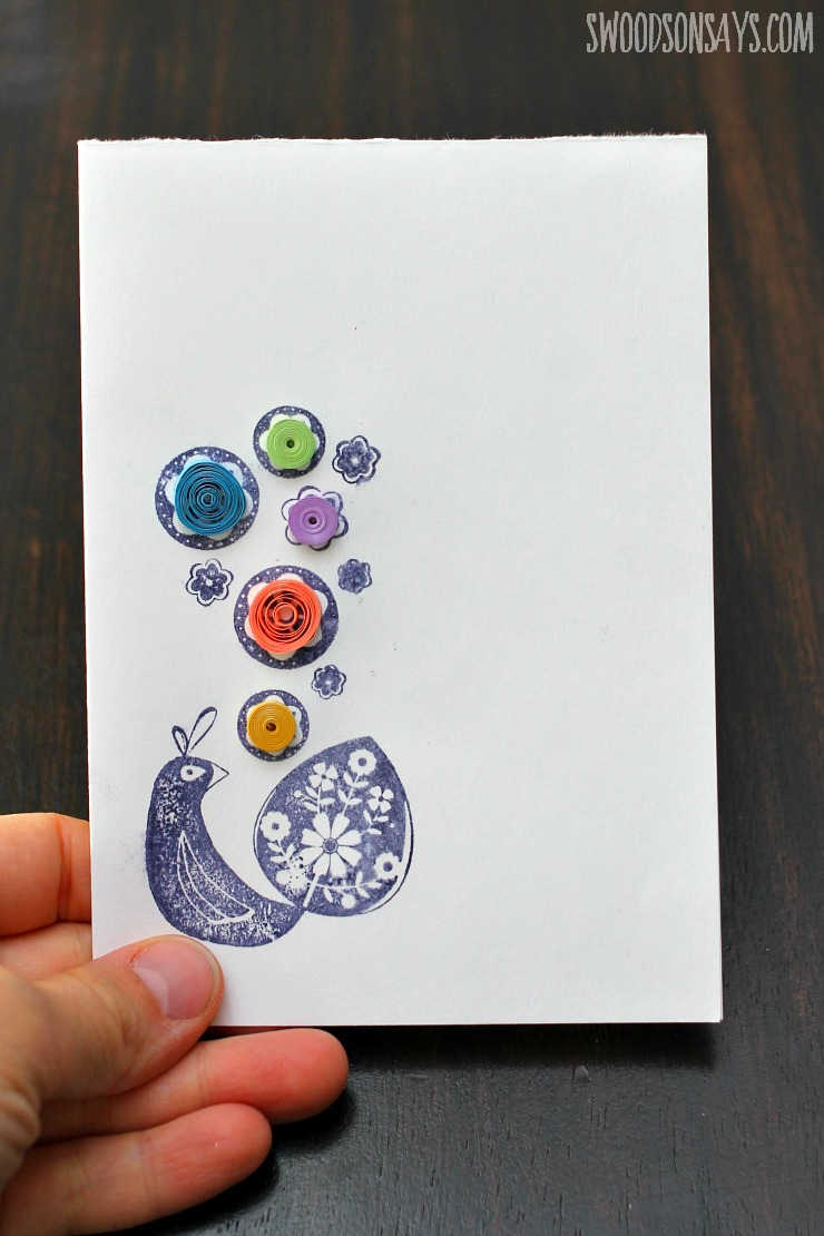 Quilled peacock card