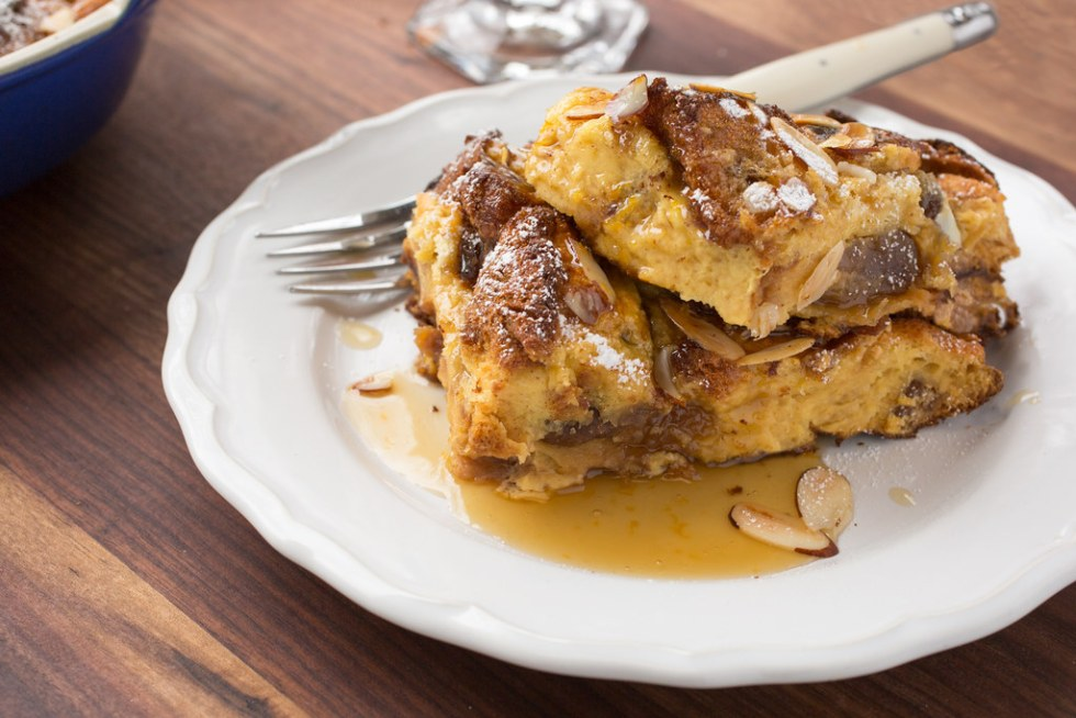 baked panettone french toast served on plate