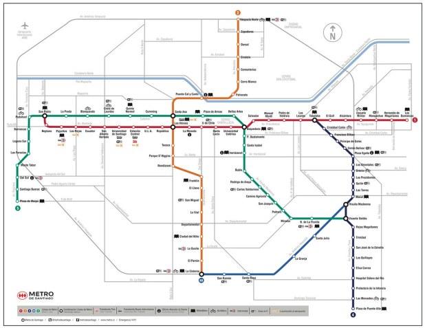 Mapa Metro Santiago de Chile