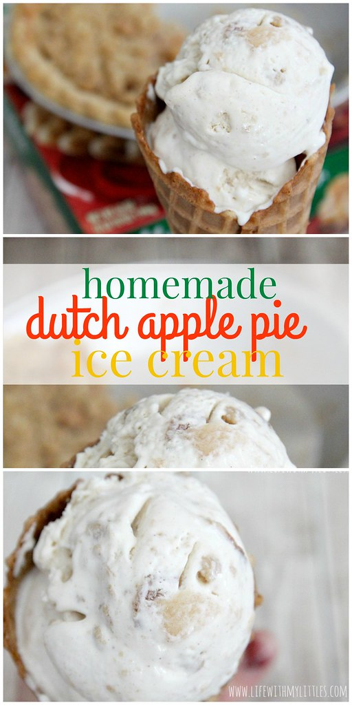 This homemade Dutch Apple Pie Ice Cream is so good, so creamy, and so easy! Only four ingredients, and you'll be enjoying the best ice cream you've ever made! Plus, you can package it up in a cute neighbor gift! {{Printable included!}}