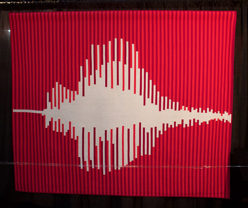 Big Love, modern quilt design based on sound wave pattern of the word Love
