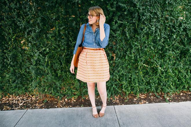 geo print skirt chambray shirt5