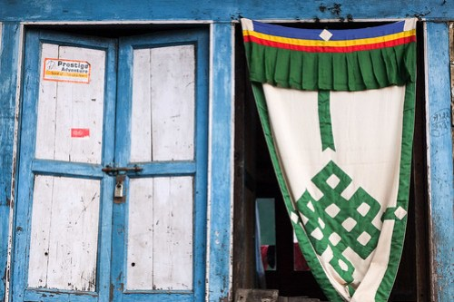 Doorway with Tibetan curtain. Lukla