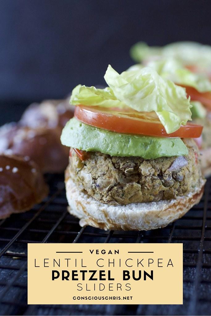 Vegan Lentil Chickpea Pretzel Bun Sliders | cnsciouschris.net