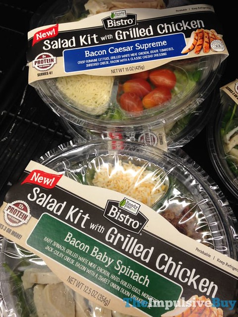 Ready Pac Bistro Salad Kit with Grilled Chicken (Bacon Caesar Supreme and Bacon Baby Spinach)