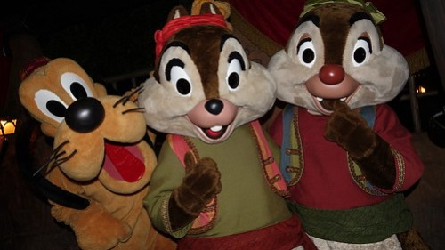 Chip n Dale with Pluto at Disneyland Halloween Party
