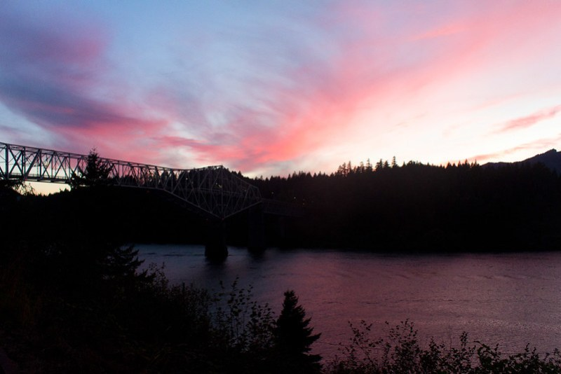 Columbia river. Sunset
