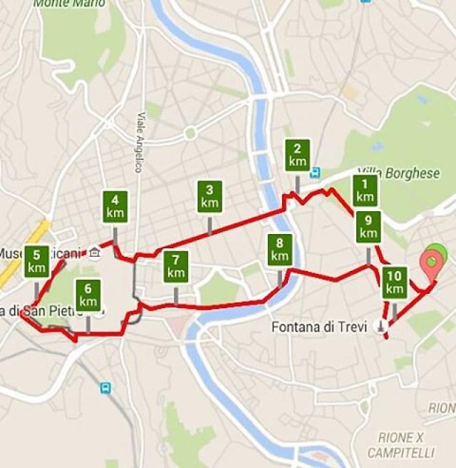 City jogging in Rome. Eventjes naar en rond Vaticaanstad gelopen.