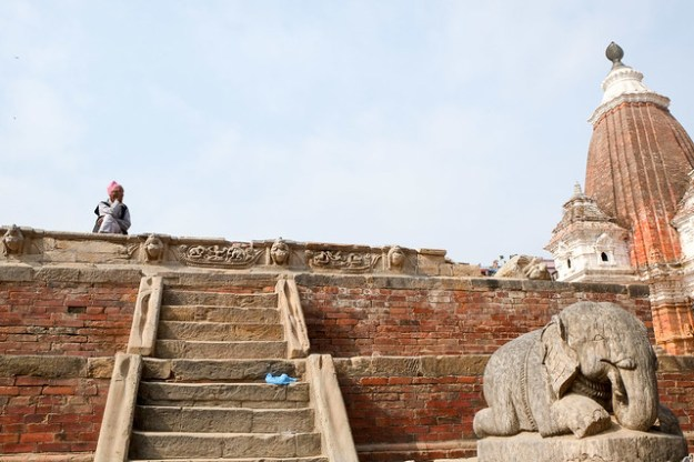 Something's missing. Temple with earthquake damage, Patan Durbar Square