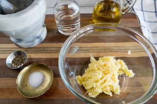 assembling the mojo sauce