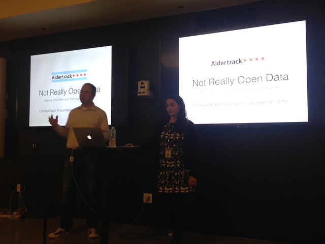 Mike Fourcher and Claudia Morell talk about Aldertrack at ChiHackNight