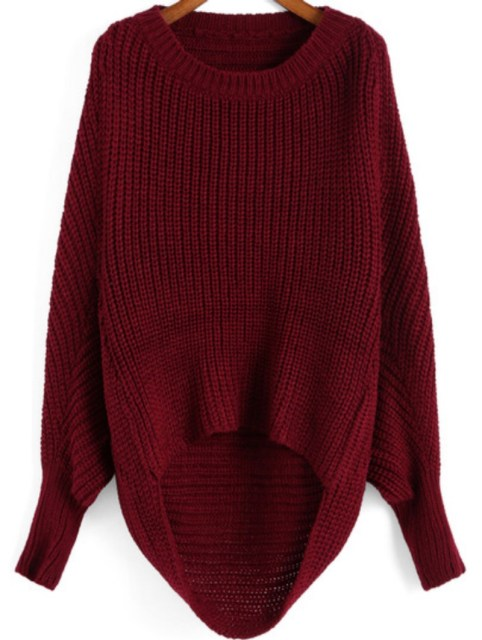 Winter is Coming: SheIn's Red Round Neck Dip Hem Knit Sweater