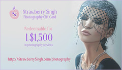 Strawberry Singh Photography - L$1500 Gift Card for Single Portraits