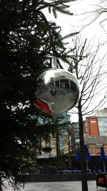Self portrait with big Christmas bauble