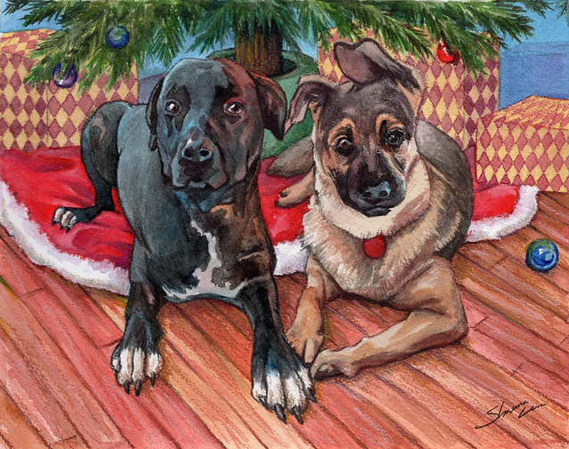 Two Dogs Christmas Card