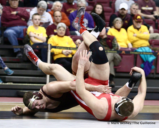 Hwt #8 Michael Kroells (Minnesota) dec. #15 Collin Jensen (Nebraska) 7-6