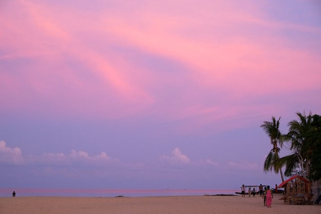 Pink sunset. Pulau Hatta, Banda Islands