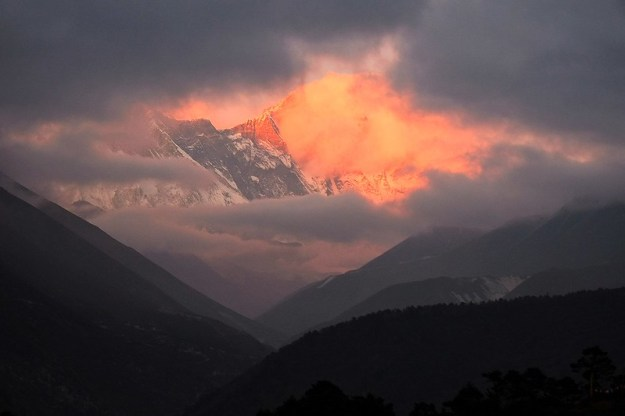 Fiery sunset. Tengboche