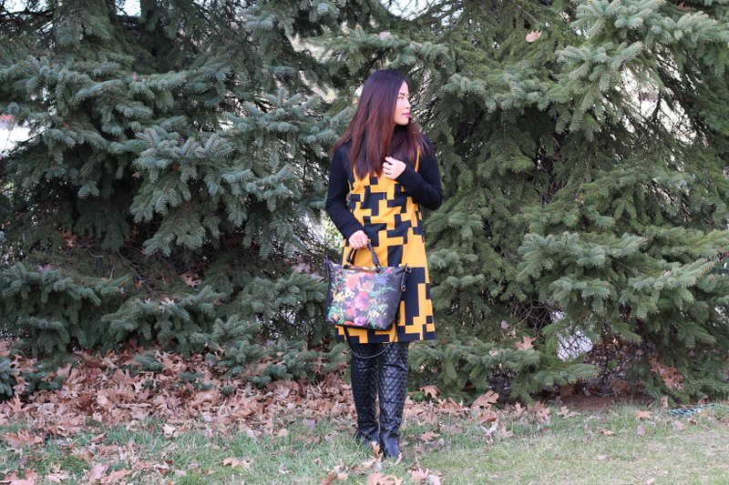 Thanksgiving outfit, Lattori dress, quilted boots, Elliott Lucca floral bag