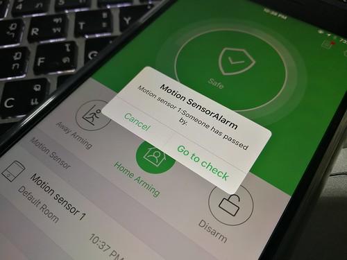 แจ้งเตือนผ่านแอป HomeMate เวลาเซ็นเซอร์ตรวจจับการเคลื่อนไหวได้