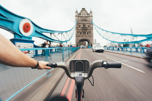Tower Bridge on a bike