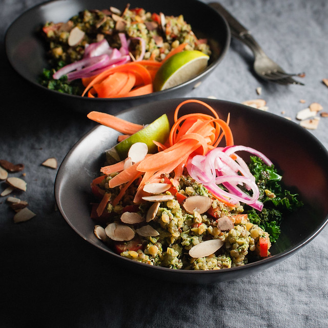 Siam lentil bowl with Thai cashew pesto. Vegan, gluten free, and perfect to pack for lunch.