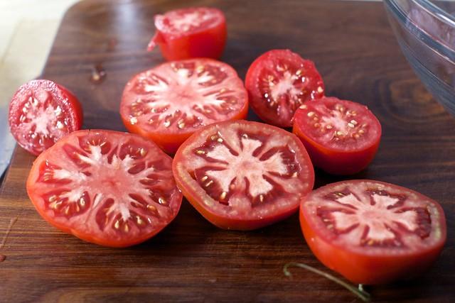 grating a few tomatoes