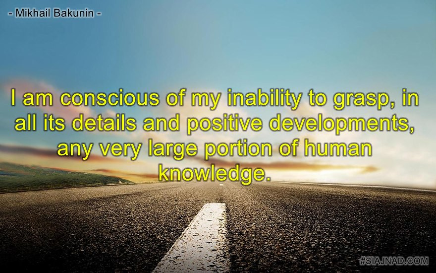 I am conscious of my inability to grasp in all its details and positive