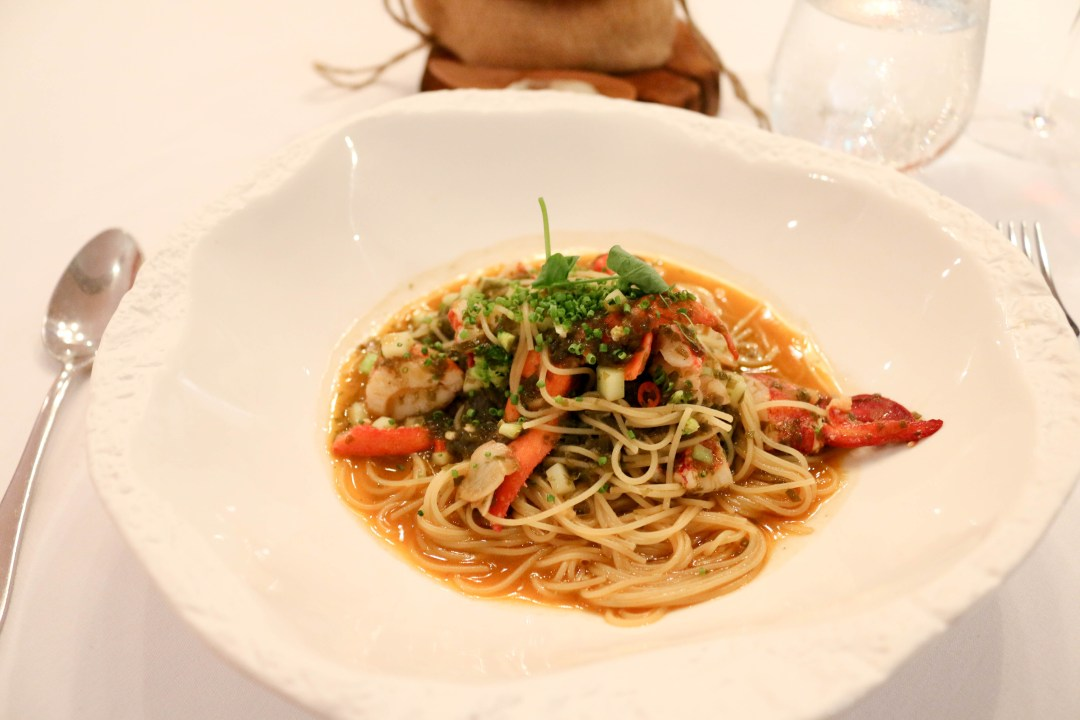 Boston lobster with angel hair pasta, Hijiki seaweed and tom yam