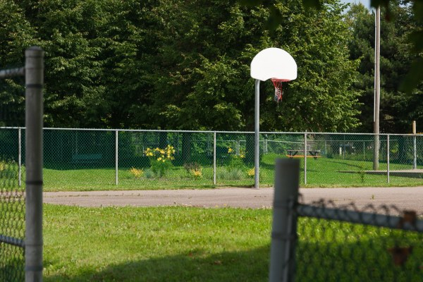 A basketball  net in the South End