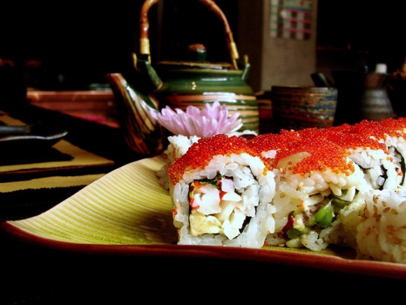 California roll with flying fish eggs