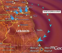 """Israeli Forces Push Through Lebanon Border"": detail view from Lebanon looking towards Israel"