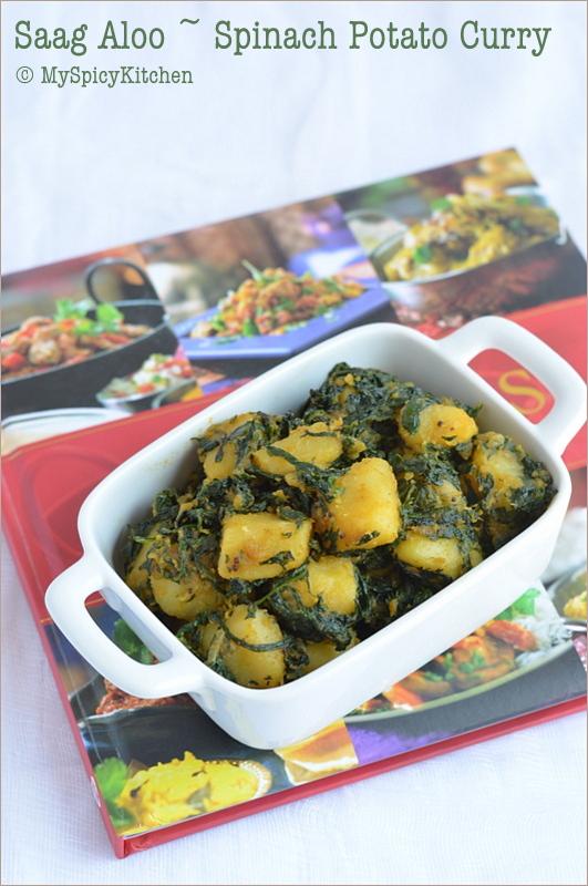 Spinach Potato Curry, Aloo Saag, Palak Aloo, Palakura Alugada Kura, Cooking from Cookbook Challenge,